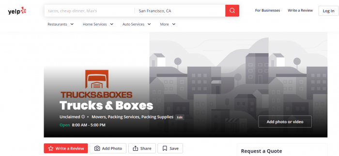 Trucks and Boxes Yelp